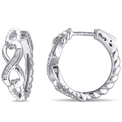 Diamond Accent White Diamond Accent Sterling Silver Hoop Earrings