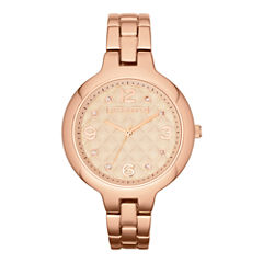 Liz Claiborne® Womens Rose-Tone Quilted Watch