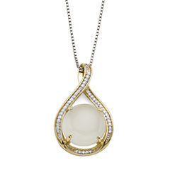 Sterling Silver Moonstone and Lab-Created White Sapphire Pendant Necklace