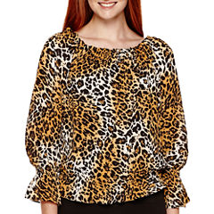 XOXO® Long-Sleeve Animal Print Peasant Blouse