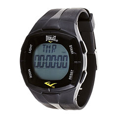 Everlast® Mens Heart Rate Monitor Black Silicone Strap Sport Watch