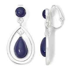 Liz Claiborne® Silver-Tone Blue Stone Drop Clip-On Earrings