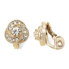 Monet® Gold-Tone Crystal Button Clip-On Earrings
