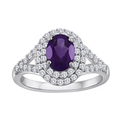 Genuine Amethyst & Lab-Created White Sapphire Double Halo Ring in Sterling Silver