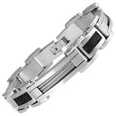 Stainless Steel & Black Carbon Fiber Mens Bracelet