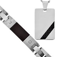 Mens Diamond-Accent Dog Tag Pendant Necklace & Bracelet 2-Pc. Set