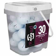 30 pack Titleist Prov1X Refinished Golf Balls in a reusable plastic bucket with handle.