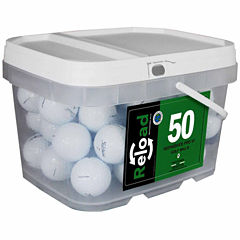 50 pack Titleist Prov1 Refinished Golf Balls in a reusable plastic bucket with handle.