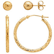 LIMITED QUANTITIES! 14K Yellow Gold Hoop & Stud Earring Set