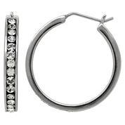 LIMITED QUANTITIES! Sterling Silver Polished Crystal Hoop Earrings