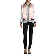 i jeans by Buffalo Satin Bomber Jacket, Foil Heather Tee and Pintuck Leggings