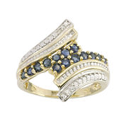 10K Yellow Gold Genuine Sapphire & Diamond-Accent Bypass Ring