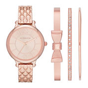 Liz Claiborne® Womens Quilt-Look Bangle Watch and Bangle Set