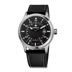 SWIZA Siruz Mens Black Leather Strap Watch