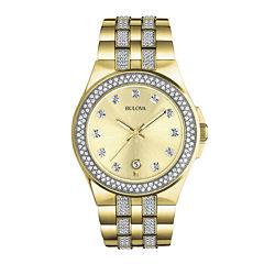 Bulova® Mens Gold-Tone Crystal-Accent Watch 98B174
