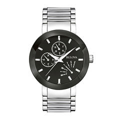 Bulova® Mens Black-Dial Stainless Steel Watch 96C105