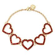 Monet® Red Crystal Heart Flex Bracelet