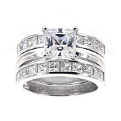 DiamonArt® Cubic Zirconia Sterling Silver Princess-Cut Bridal Ring and Guard