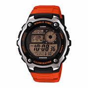Casio Table Mens Orange Strap Watch-Ae2100w-4aos