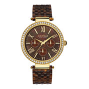 Caravelle New York® Womens Crystal-Accent Brown Resin Strap Watch 44N102