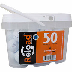 50 pack Titleist NXT Tour Refinished Golf Balls in a reusable plastic bucket with handle.