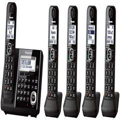 Panasonic KX-TGF345B Expandable Digital Cordless Answering System with 5 Handsets - Black