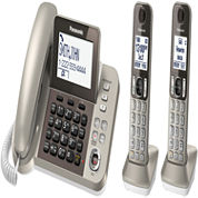 Panasonic KX-TGF352N DECT 6.0 Expandable Corded Phone with 2 Cordless Handsets & Answering Machine - Champagne Gold