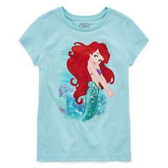 Disney Girls Little Mermaid Sparkle Graphic T-Shirt