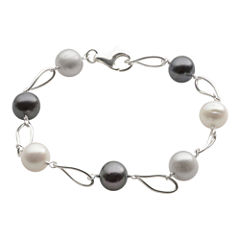 Sterling Silver Multi Color Fresh Water Pearl Bracelet