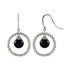 Sterling Silver Black Onyx Sparkle Bead Earrings