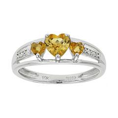 Genuine Citrine & Diamond-Accent Heart-Shaped 3-Stone 10K White Gold Ring