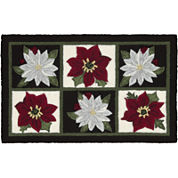 Nourison® Red and White Poinsettia Hand-Hooked Rectangular Rug