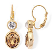 Monet® Champagne and White Crystal Gold-Tone Drop Earrings