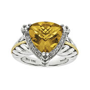 Shey Couture 1/10 CT. T.W. Diamond and Genuine Citrine Sterling Silver Ring