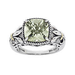Shey Couture Green Quartz Sterling Silver Antiqued Ring