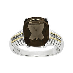 Shey Couture Smoky Quartz and Diamond-AccentSterling Silver Antiqued Ring