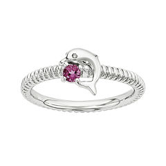 Genuine Pink Tourmaline and Diamond-Accent Sterling Silver Stackable Dolphin Ring