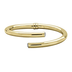 Made in Italy 14K Yellow Gold Round Open-Ended Hinged Tube Bracelet