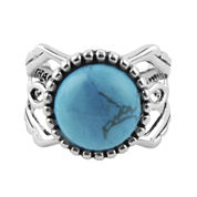 Art Smith by BARSE Genuine Turquoise Silver Over Brass Ring