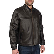 Diamond-Stitch Lambskin Leather Jacket–Big & Tall