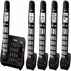 Panasonic KX-TGE245B Expandable Digital Cordless Answering System with 5 Handsets - Black