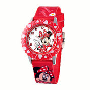 Disney Minnie Mouse Kids Time Teacher Red Hearts Strap Watch