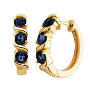 Sparkle Allure Black Diamond Accent Gold Over Brass Hoop Earrings