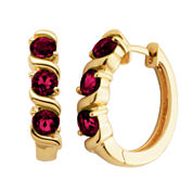 Sparkle Allure Red Diamond Accent Gold Over Brass Hoop Earrings