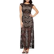 Bisou Bisou Short Sleeve Lace Maxi Dress