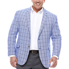 Stafford Linen Cotton Bright Blue Windowpane Sport Coat- Big and Tall