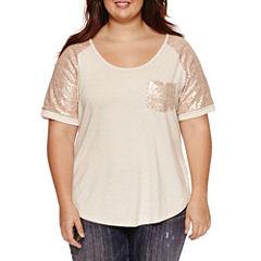 Self Esteem Short Sleeve Round Neck T-Shirt-Juniors Plus