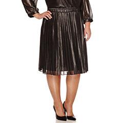 Liz Claiborne Solid Woven Pleated Skirt Plus