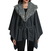 Mixit™ Fleece Ruana with Faux Fur Collar