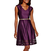 Tiana B. Cap-Sleeve Belted Fit-and-Flare Dress